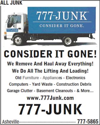 Asheville junk removal company 777-JUNK.